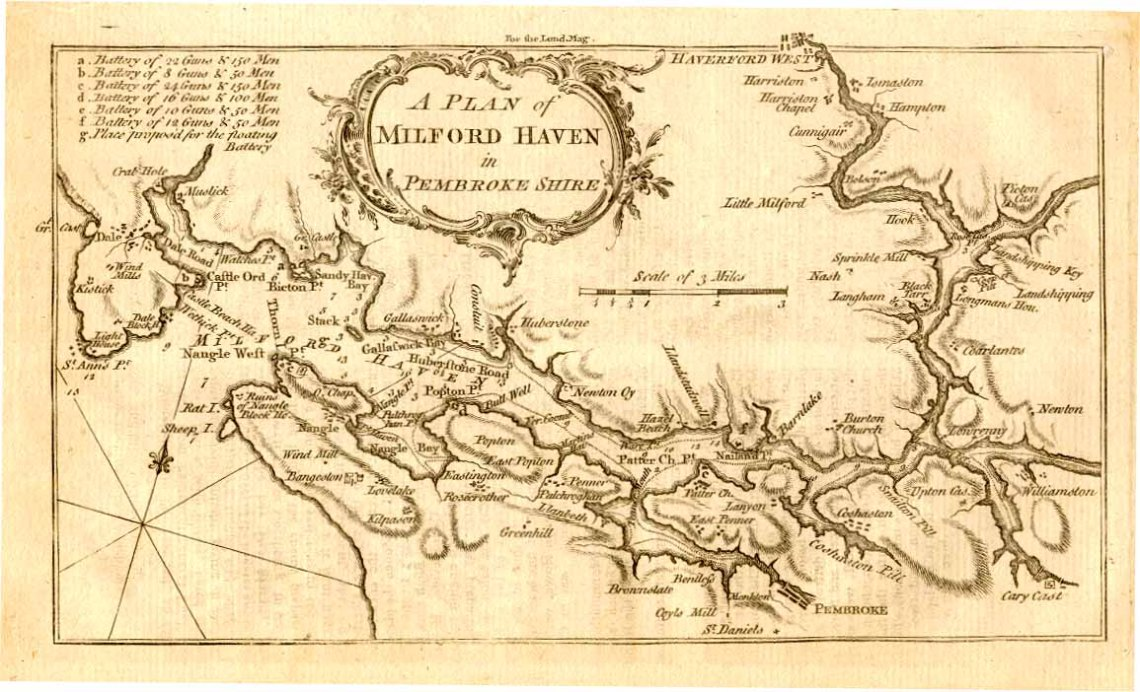 A map of Milford Haven circa 1758