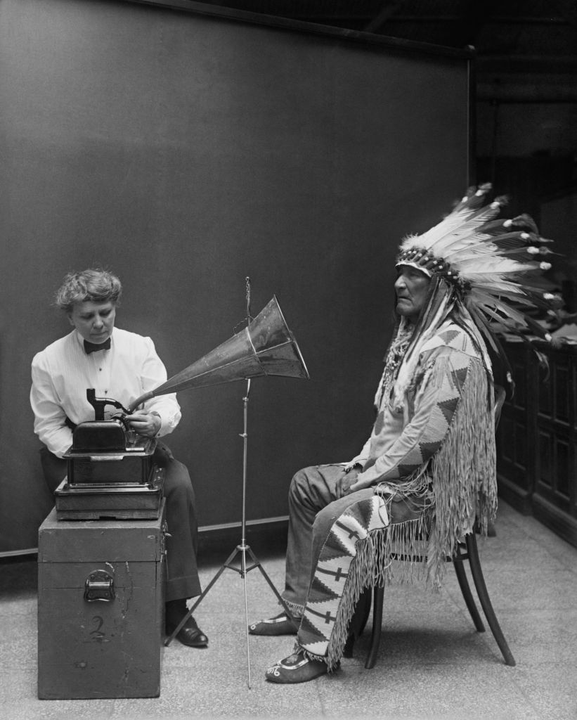 Every Picture Tells A Story:Blackfoot Indian Chief being recorded on a phonograph in 1916