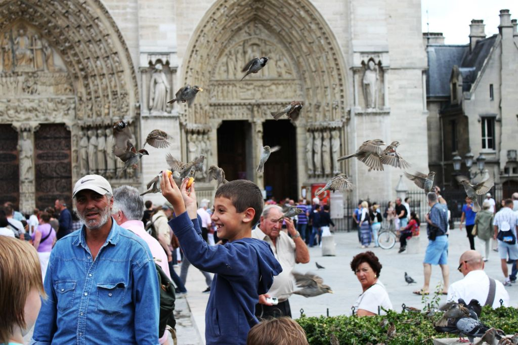 Every Picture Tells a Story: Boy Outside of Notre Dame Cathedral