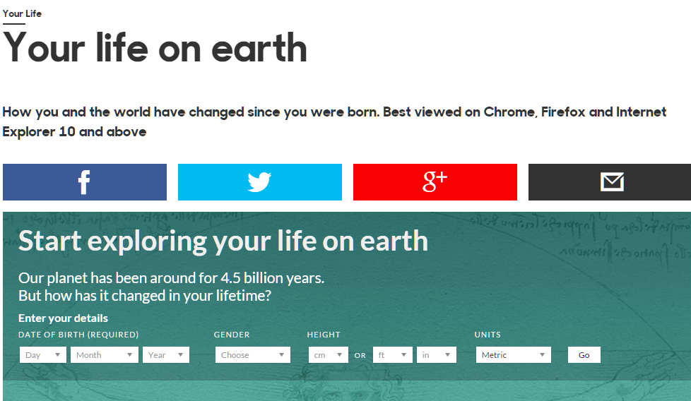 Your Life on Earth an Interactive Infographic by the BBC