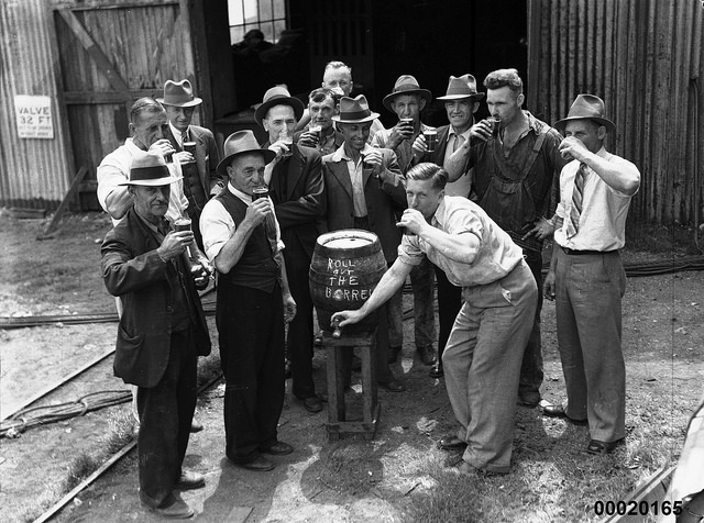Every Picture Tells A Story: Cracking Open a Keg on Cockatoo Island, 1925.