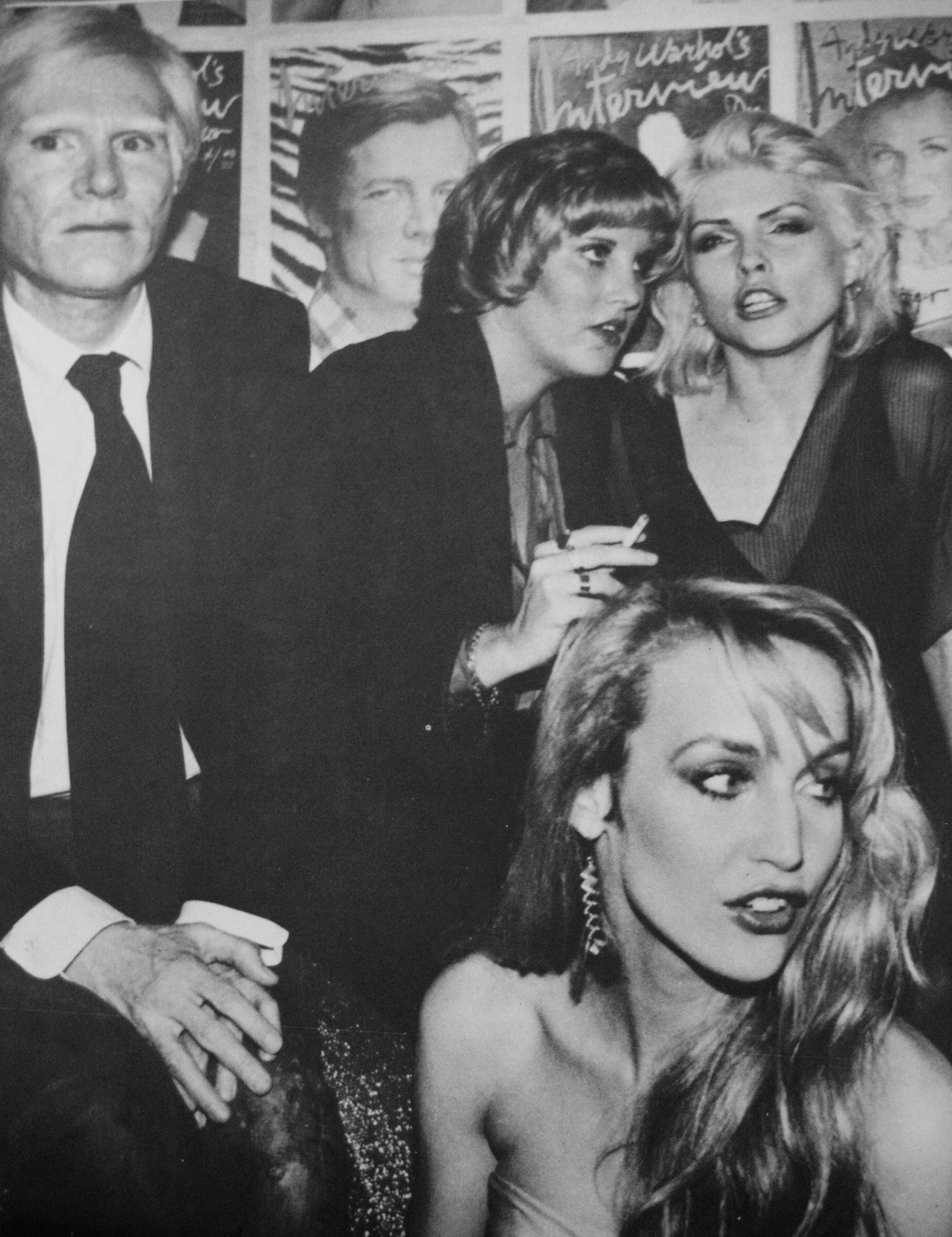 Andy Warhol, Debbie Harry and Jerry Hall at Studio 54