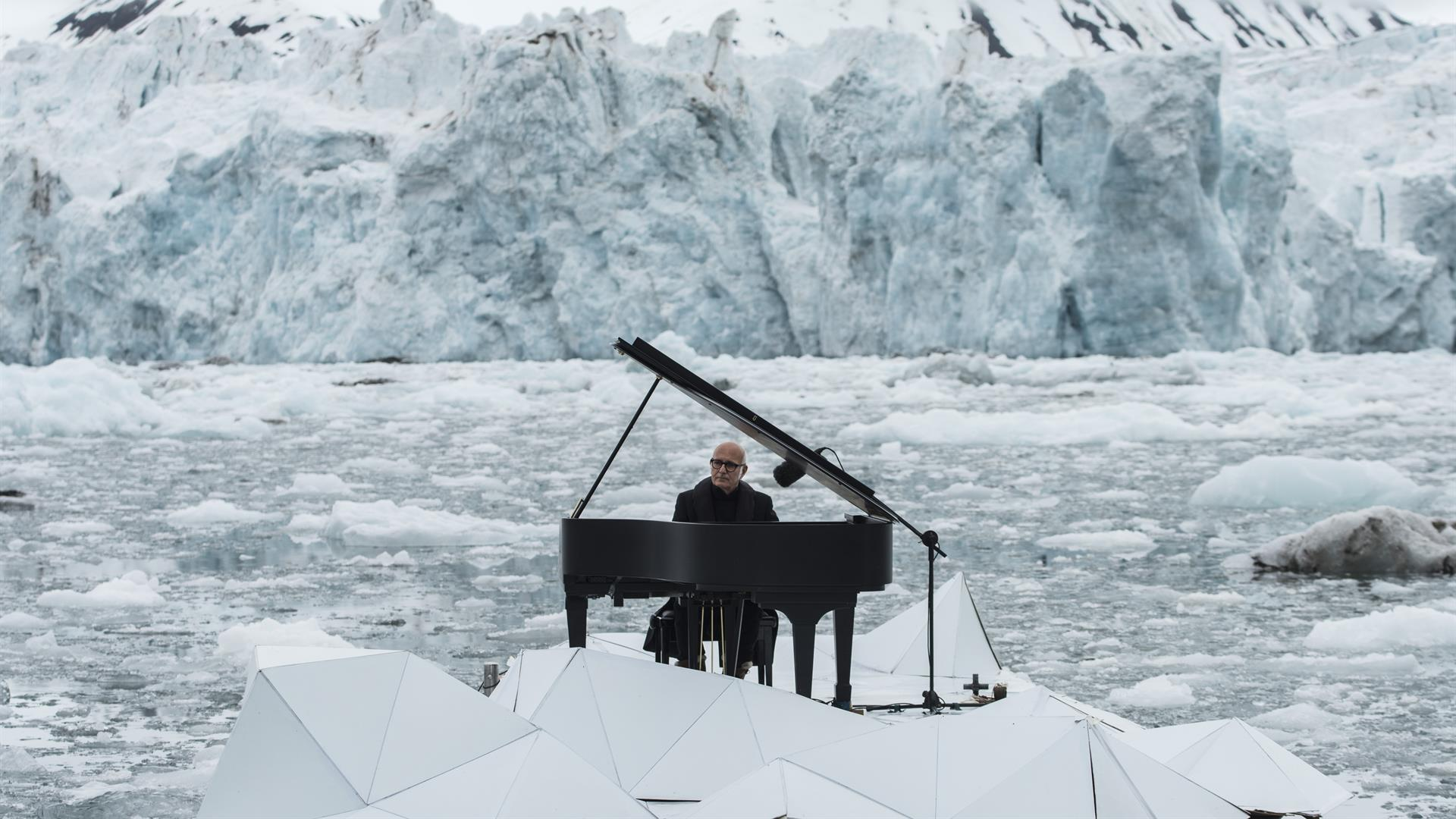 A piano reverberates over collapsing glaciers