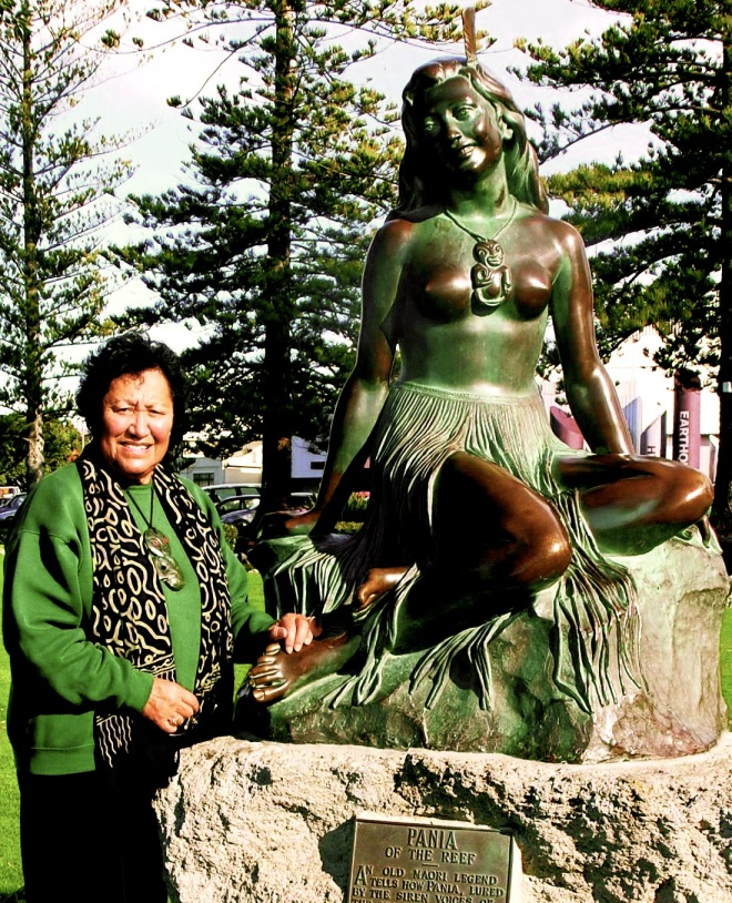 Mei Whaitiri who originally posed for the statue of Pania of the Reef in 1954.