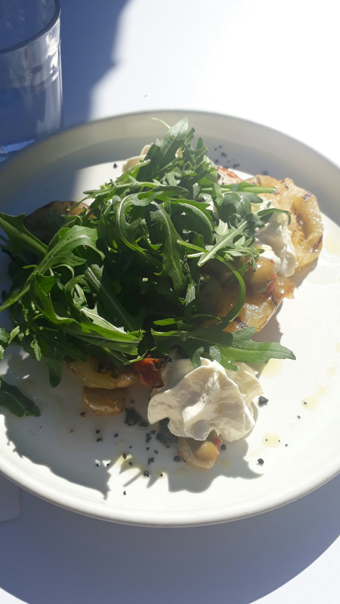 Fried green tomatoes goats cheese and herbs from Cornwall Park Bistro